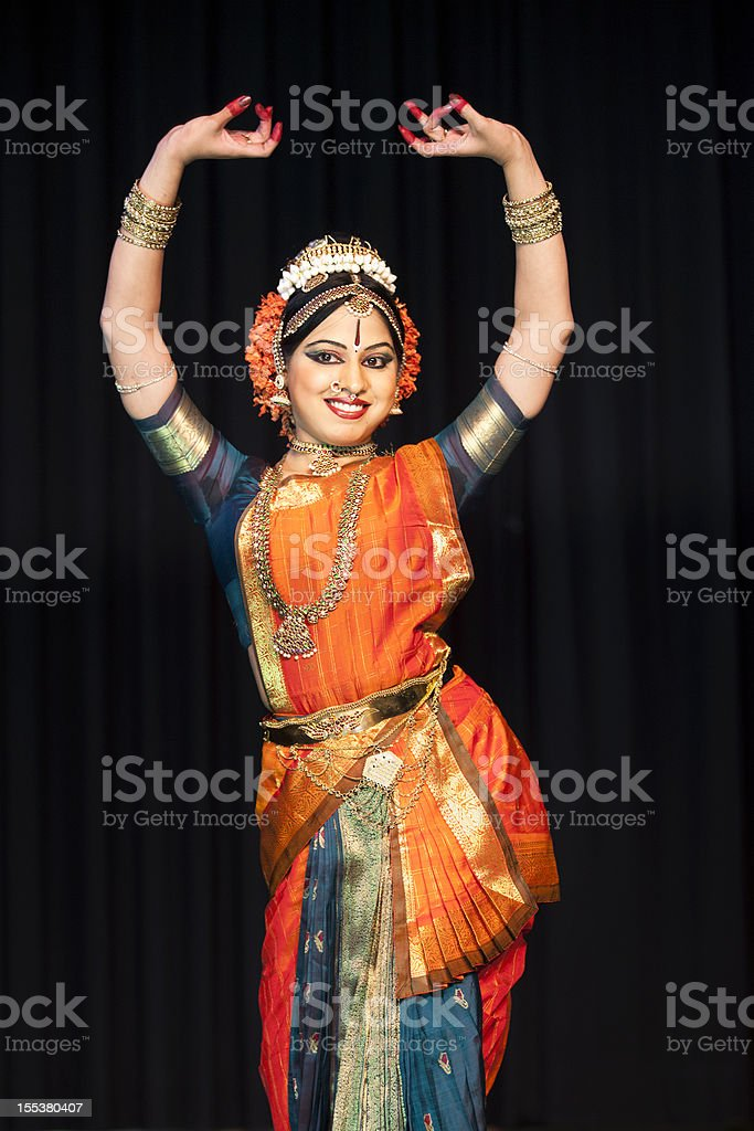 Beautiful Indian Kuchipudi Dancer Performing On Stage stock photo