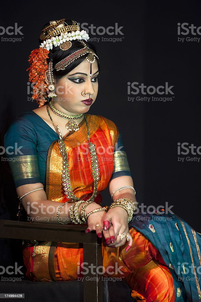 Beautiful Indian Kuchipudi Dancer Sitting stock photo