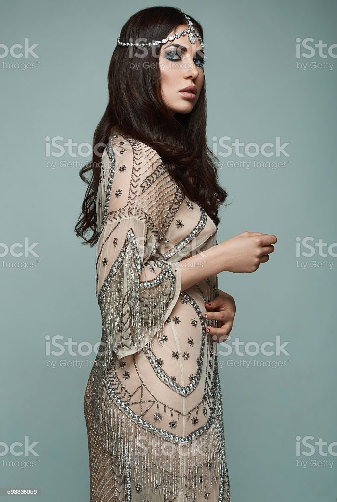 Beautiful indian style brunette young woman stock photo