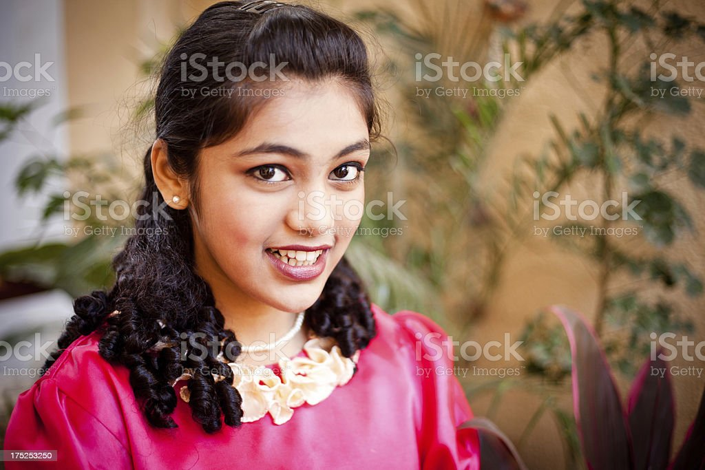 Beautiful Indian Teenager Girl in Red Dress royalty-free stock photo