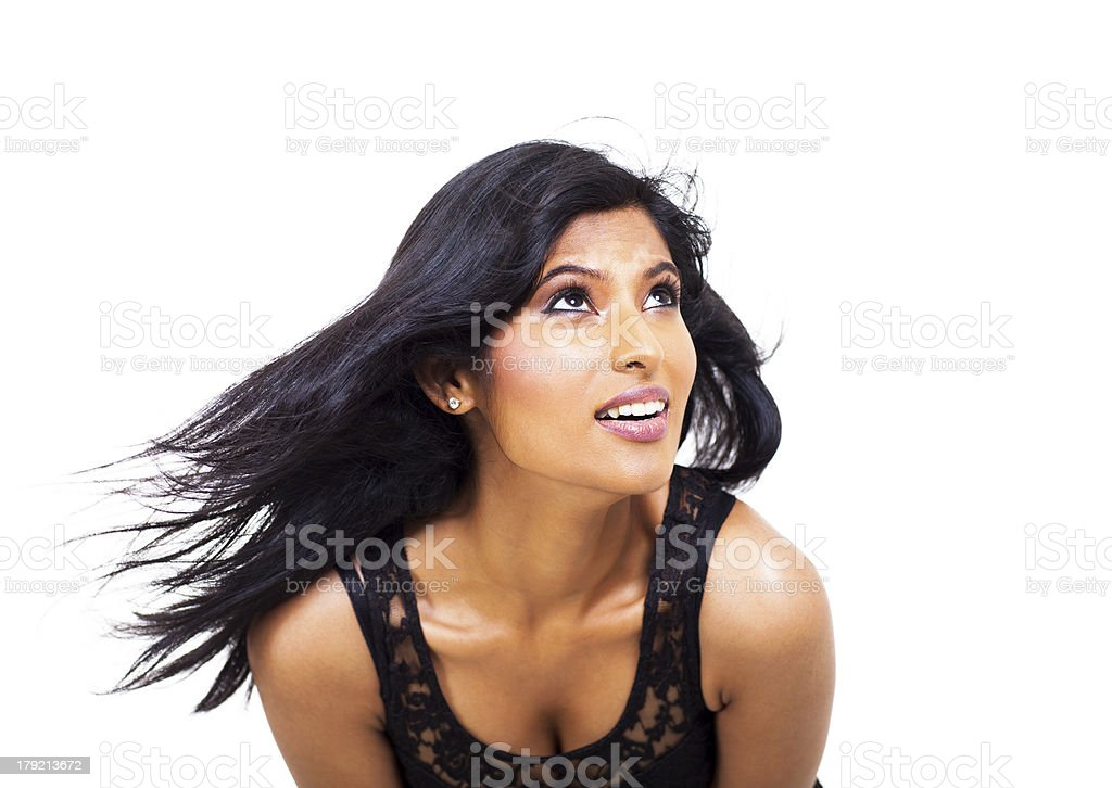 beautiful indian woman looking up royalty-free stock photo