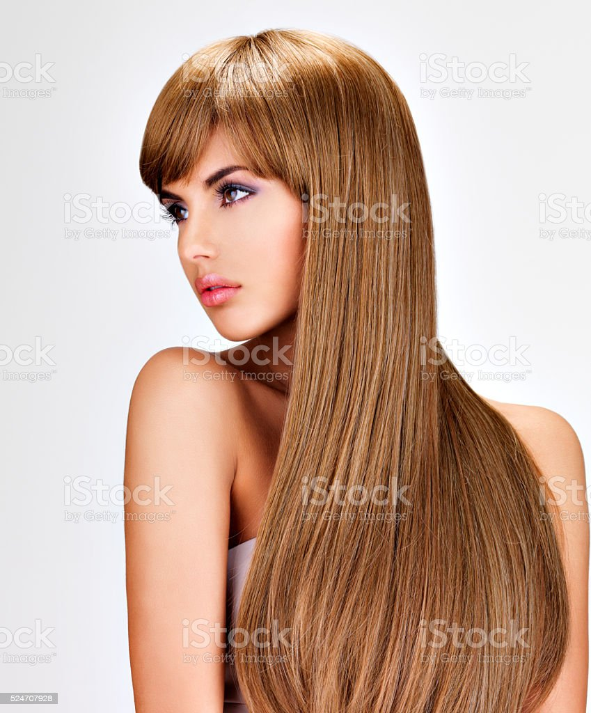 Beautiful indian  woman with long straight brown  hair stock photo