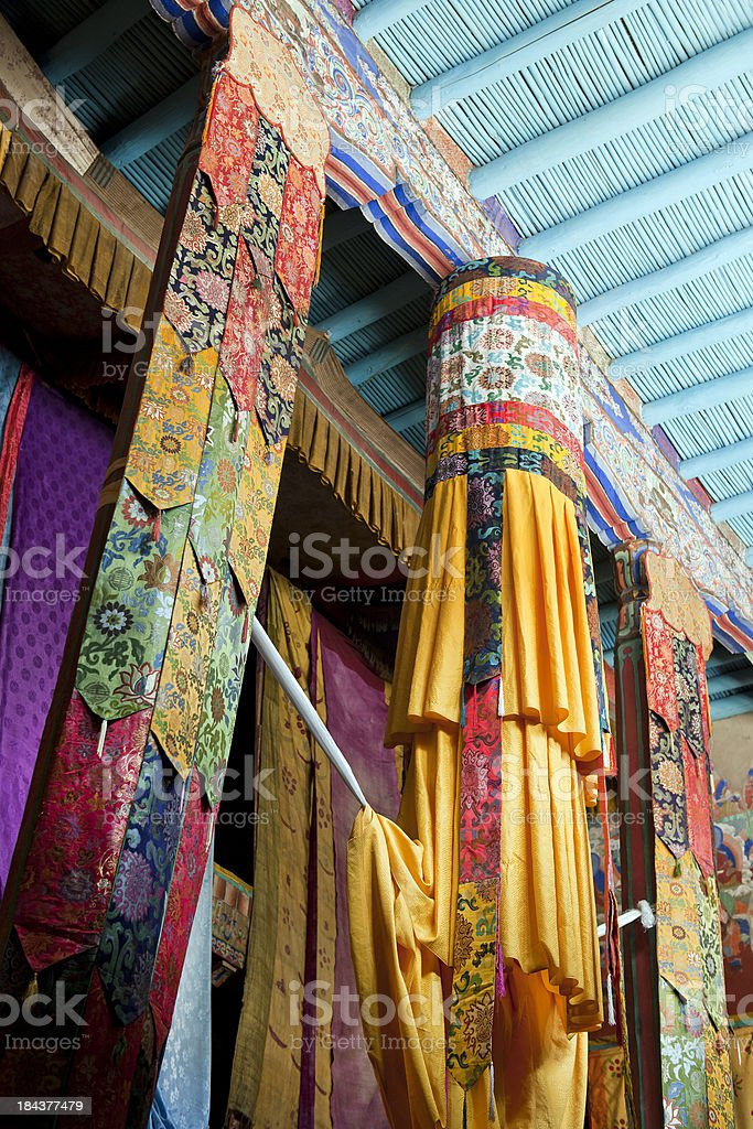 Beautiful Inside of Samstanling Monastery India stock photo