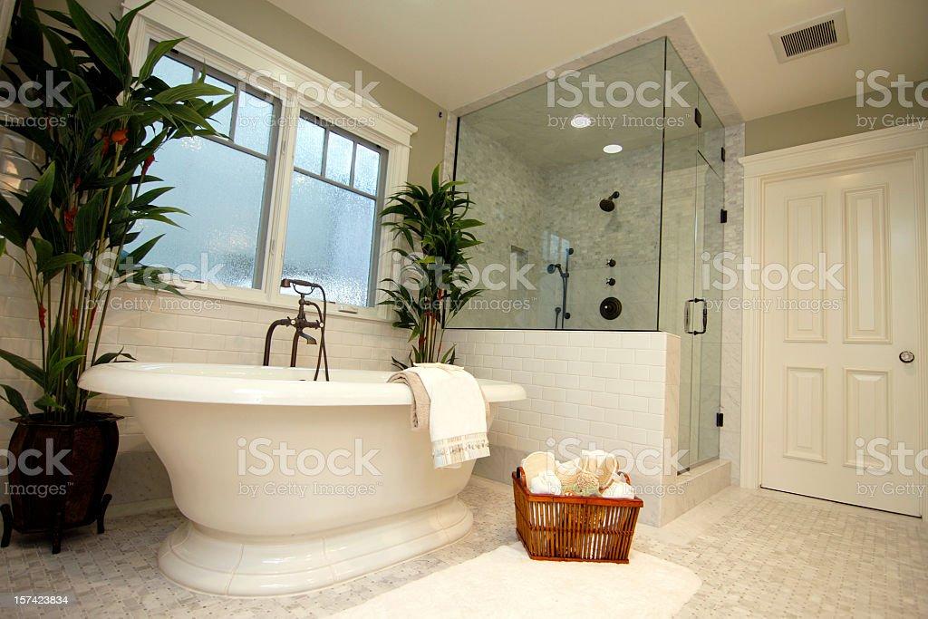 Beautiful interior of new, white bathroom stock photo