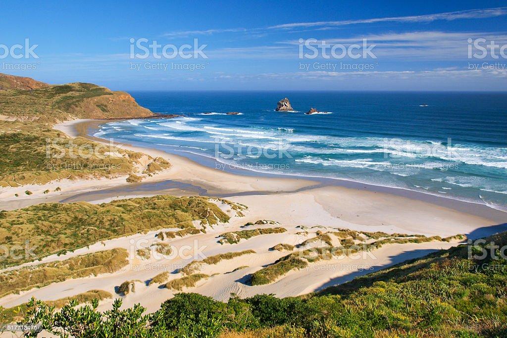 Beautiful Inviting Beach New Zealand stock photo
