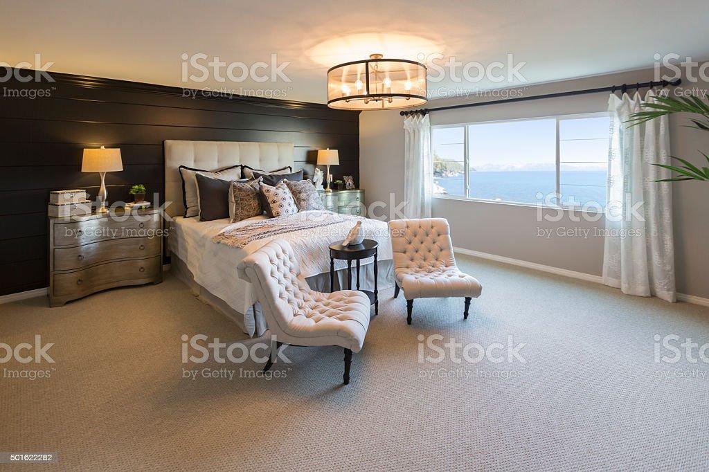Beautiful Inviting Bedroom Interior stock photo