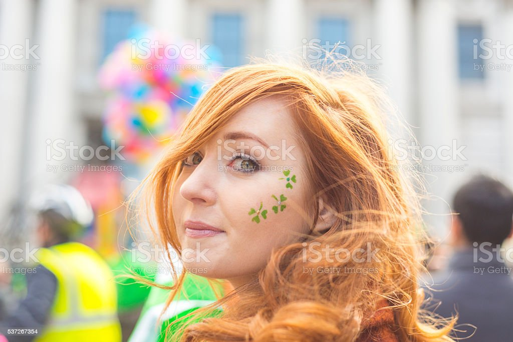Beautiful Irish girl on St. Patricks Day, Dublin, Ireland. stock photo
