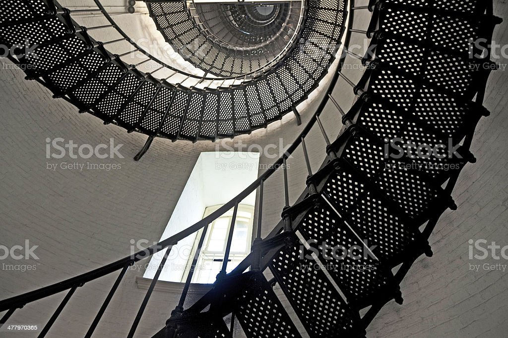 beautiful iron stairs in lighthouse royalty-free stock photo