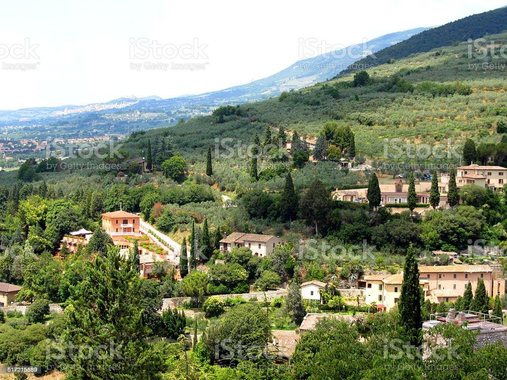 Beautiful italian landscape from Spello - Umbria stock photo
