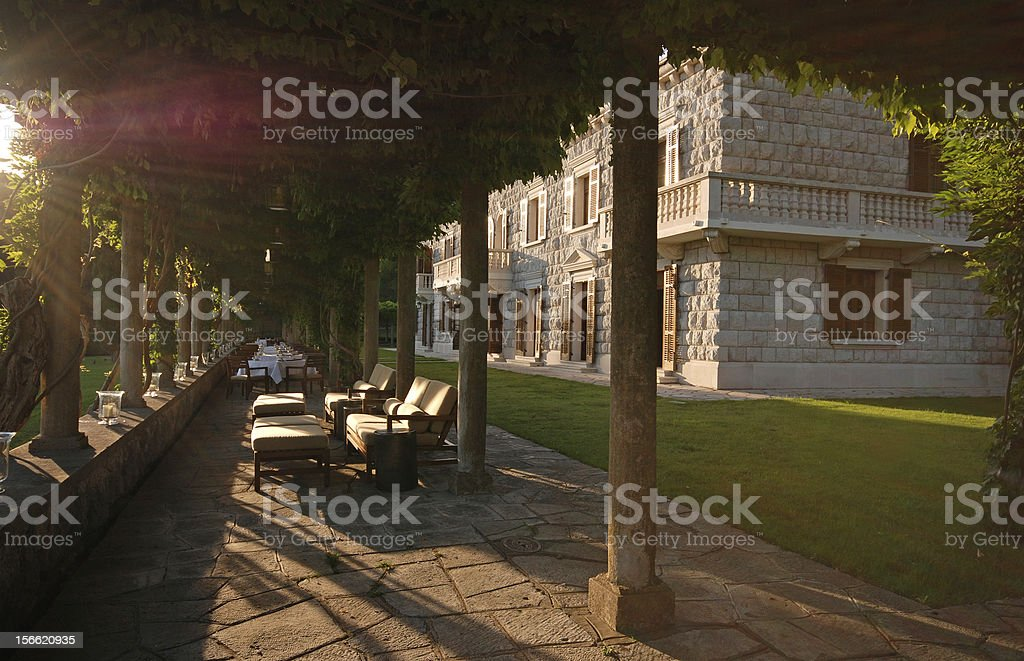 beautiful italian mansion with summer terrace (Italy) royalty-free stock photo