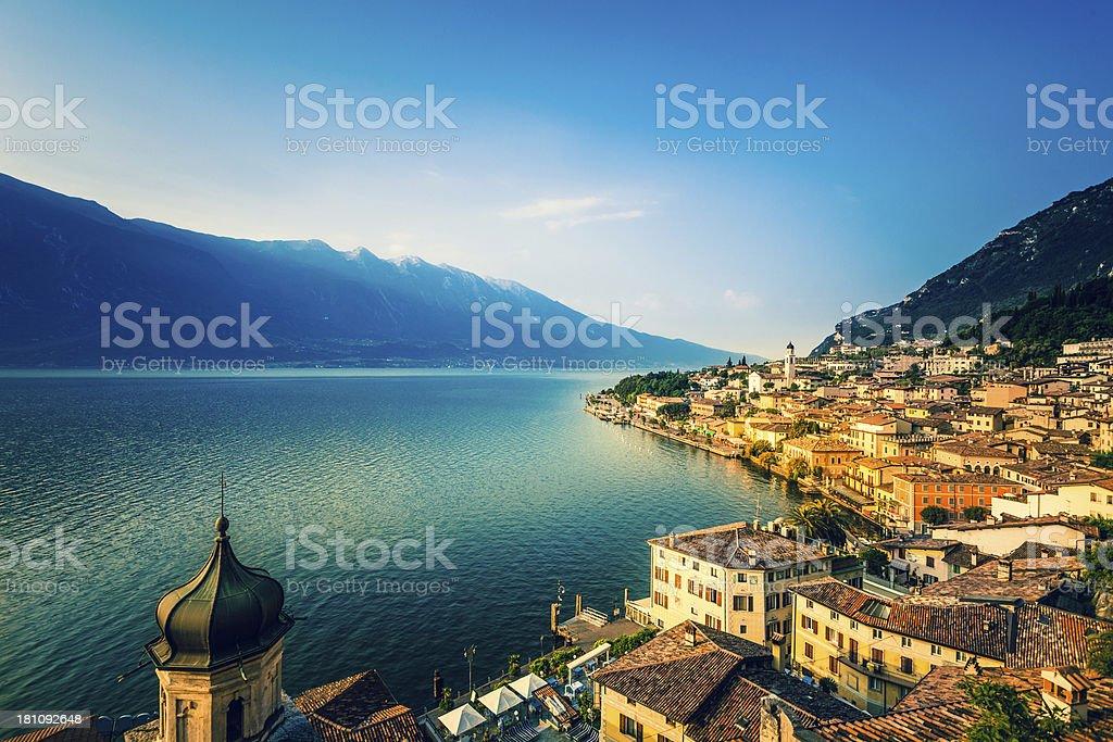 Beautiful Italian Village of Limone on the Garda Lake, Italy stock photo