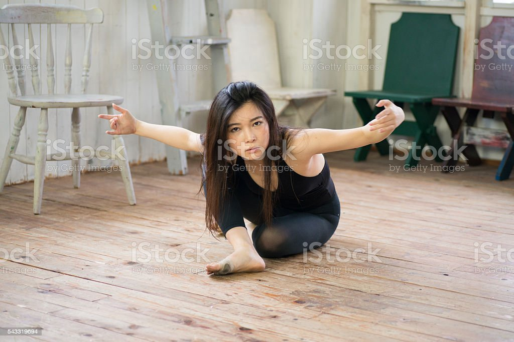 Beautiful Japanese Female Dancer is Practicing stock photo