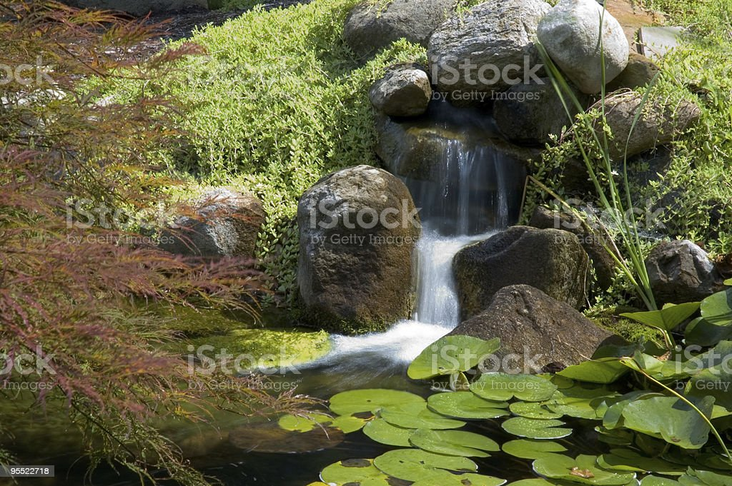 Beautiful Japanese garden with lush foliage and a waterfall stock photo