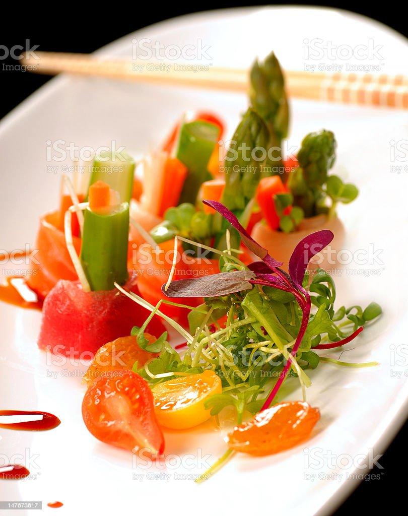 Beautiful Japanese sashimi on a white plate royalty-free stock photo