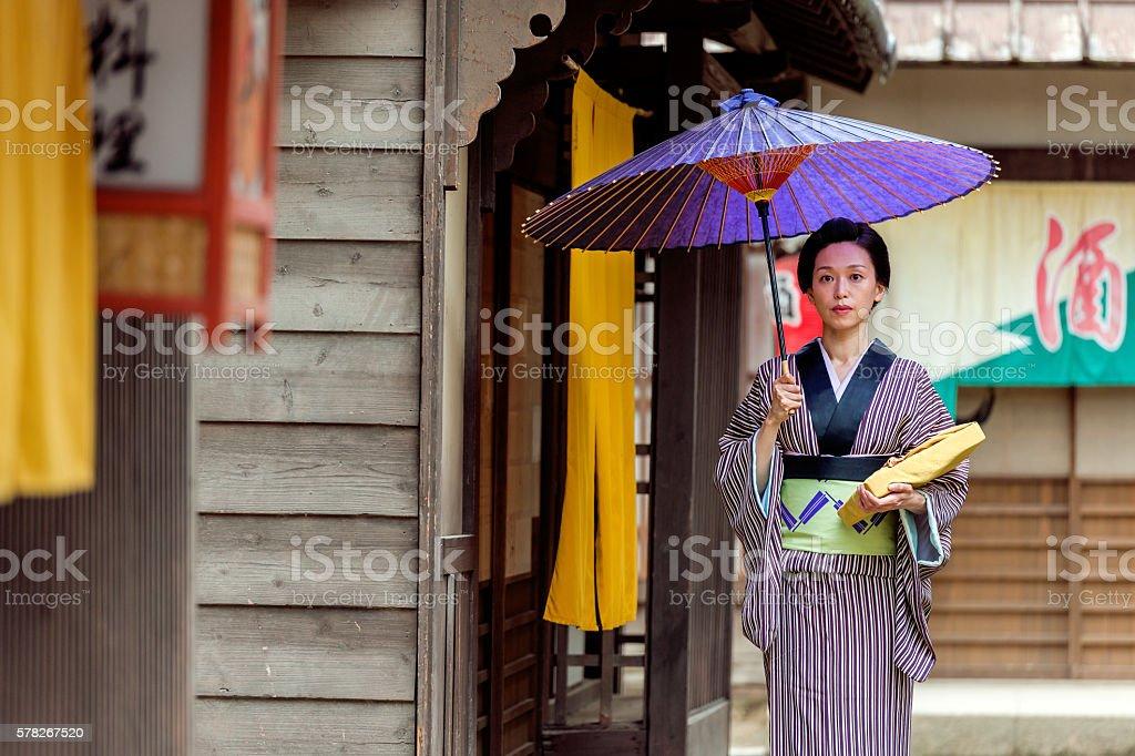 Beautiful japanese woman with kimono in Kyoto, Japan stock photo
