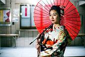 Beautiful japanese woman with kimono in Tokyo, Japan