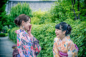 Beautiful Japanese Women in Kimono Laughing, Kyoto, Japan