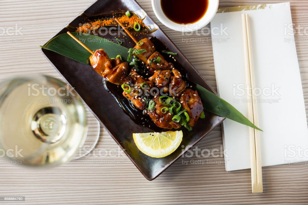 beautiful japanise yakitori served stock photo