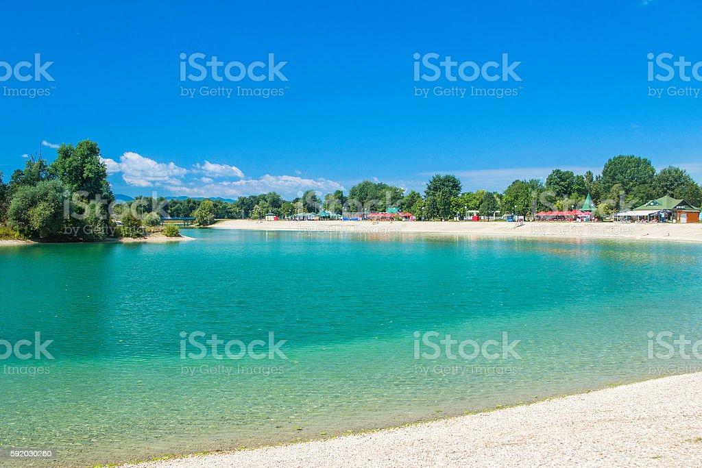 Beautiful Jarun lake in Zagreb, Croatia, sunny summer day stock photo