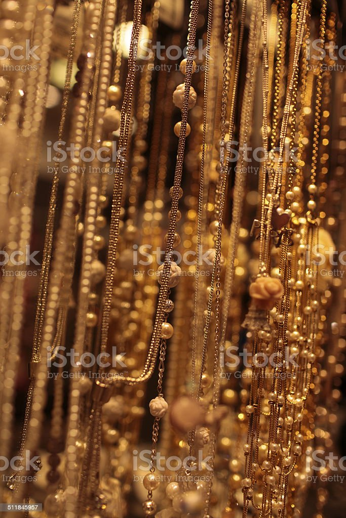 beautiful jewelry of gold color stock photo