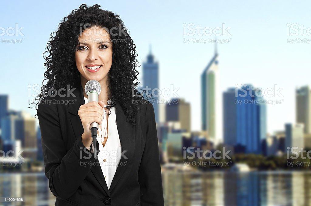 Beautiful journalist stock photo