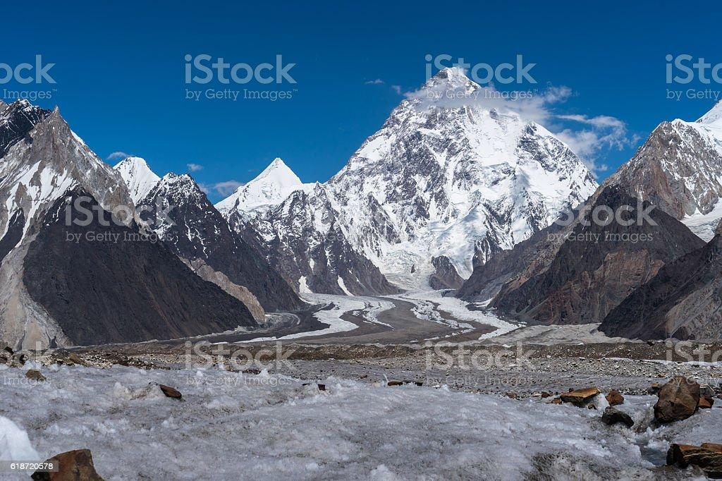 Beautiful K2 mountain and Angel peak , K2 trek stock photo