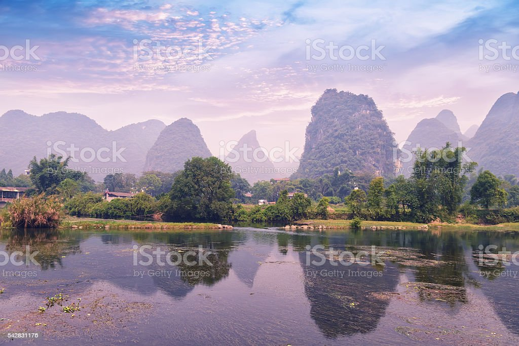Beautiful Karst mountain landscape in Yangshuo Guilin, China stock photo