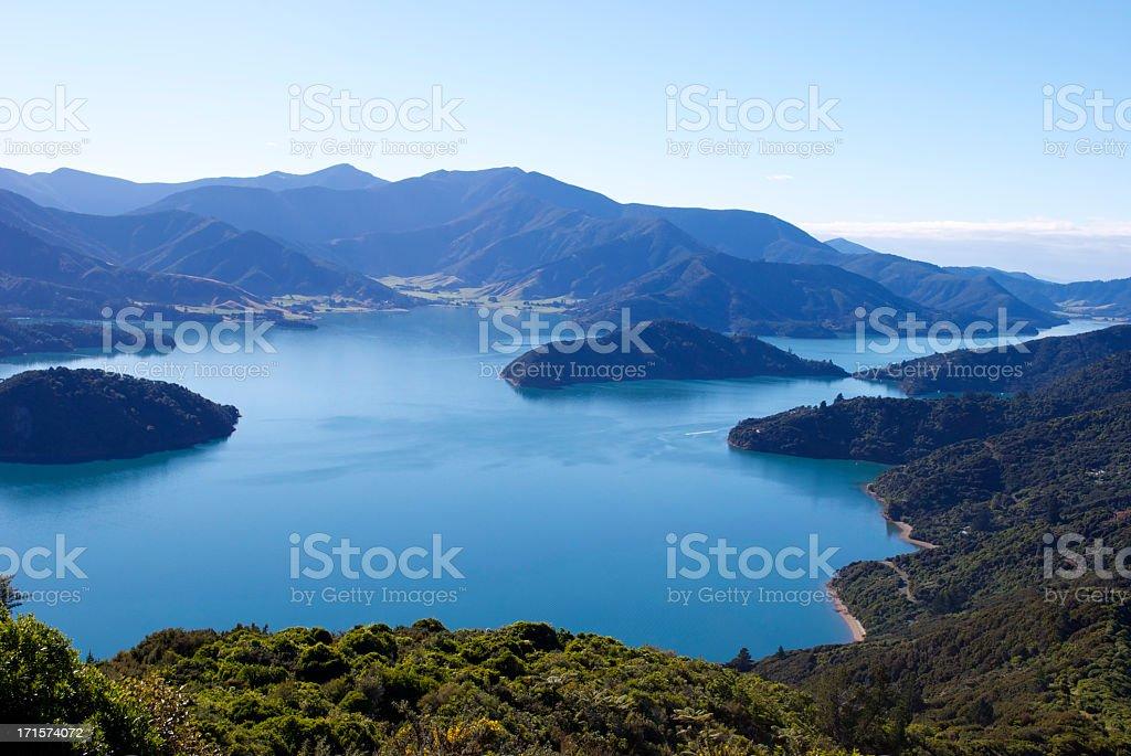 Beautiful Kenepuru Sound, Marlborough Sounds, New Zealand stock photo