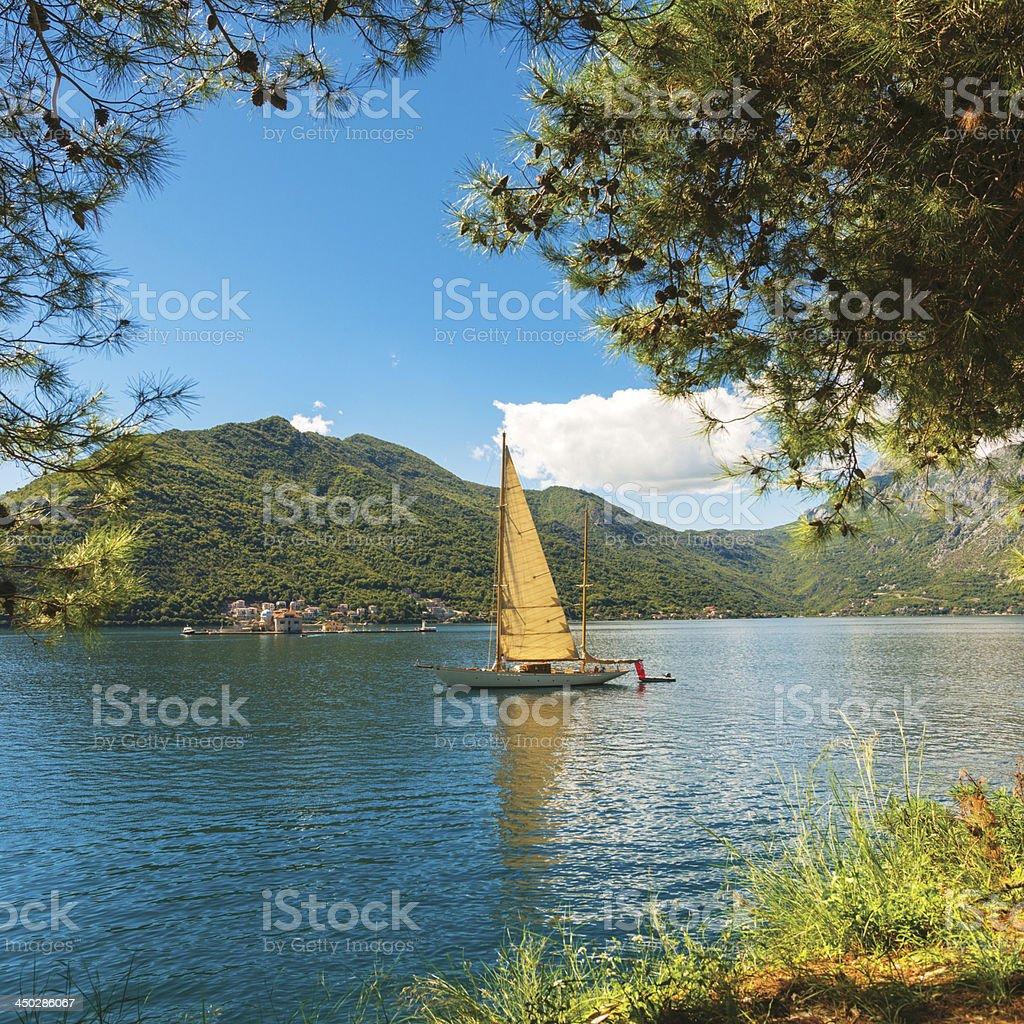 Beautiful Ketch in front of Perast stock photo