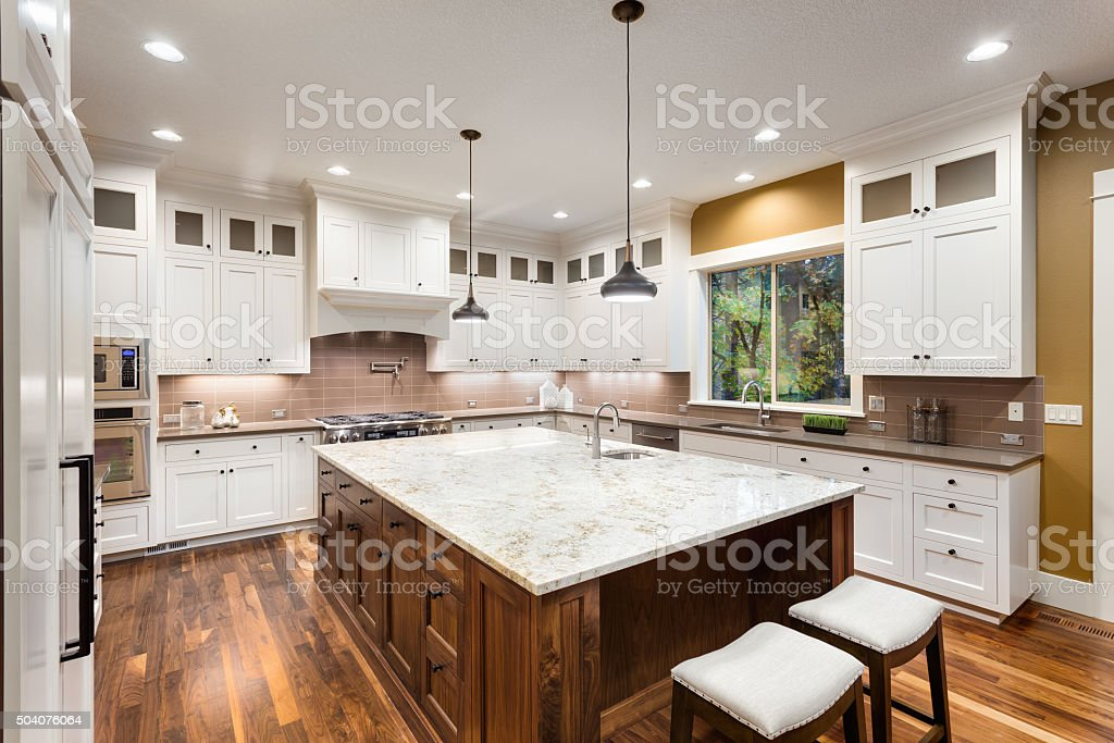 Beautiful Kitchen in Luxury Home stock photo