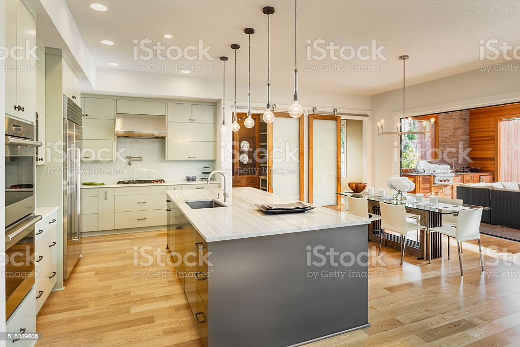 Beautiful Kitchen in New Luxury Home stock photo