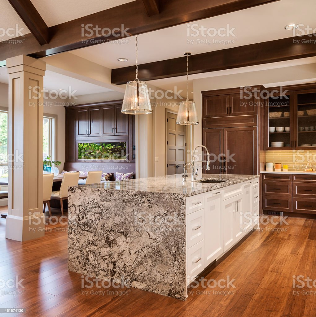 Beautiful Kitchen in New Luxury Home with Island, Sink, Cabinets stock photo