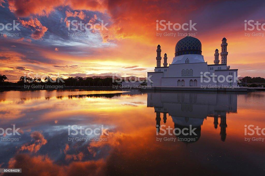 Beautiful Kota Kinabalu city mosque at sunrise in Sabah, Malaysia stock photo