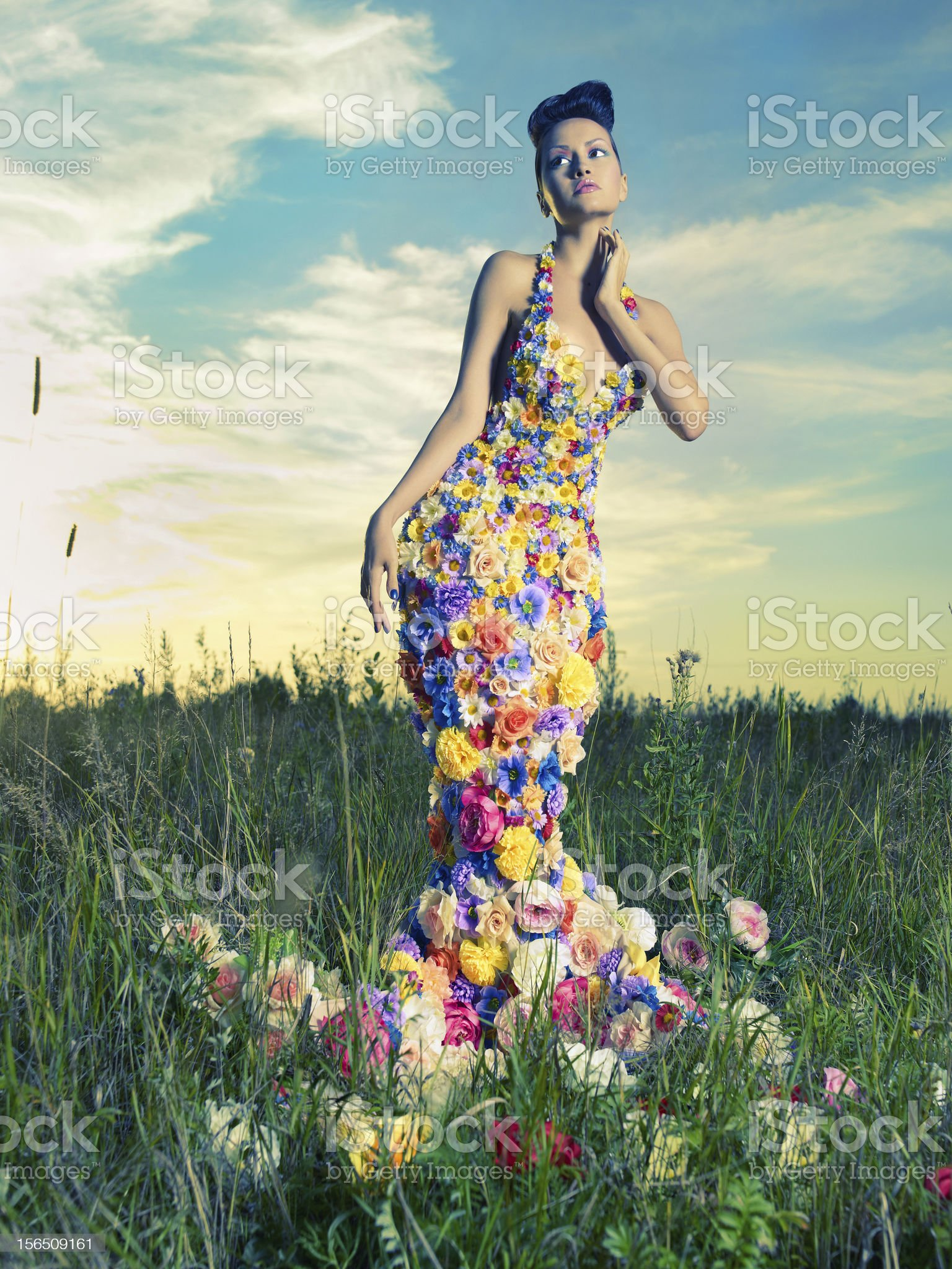 Beautiful lady in dress of flowers royalty-free stock photo