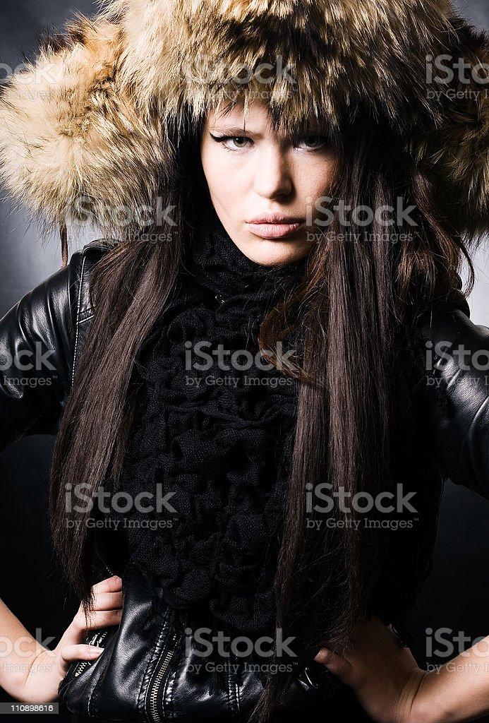beautiful lady in fur cap royalty-free stock photo