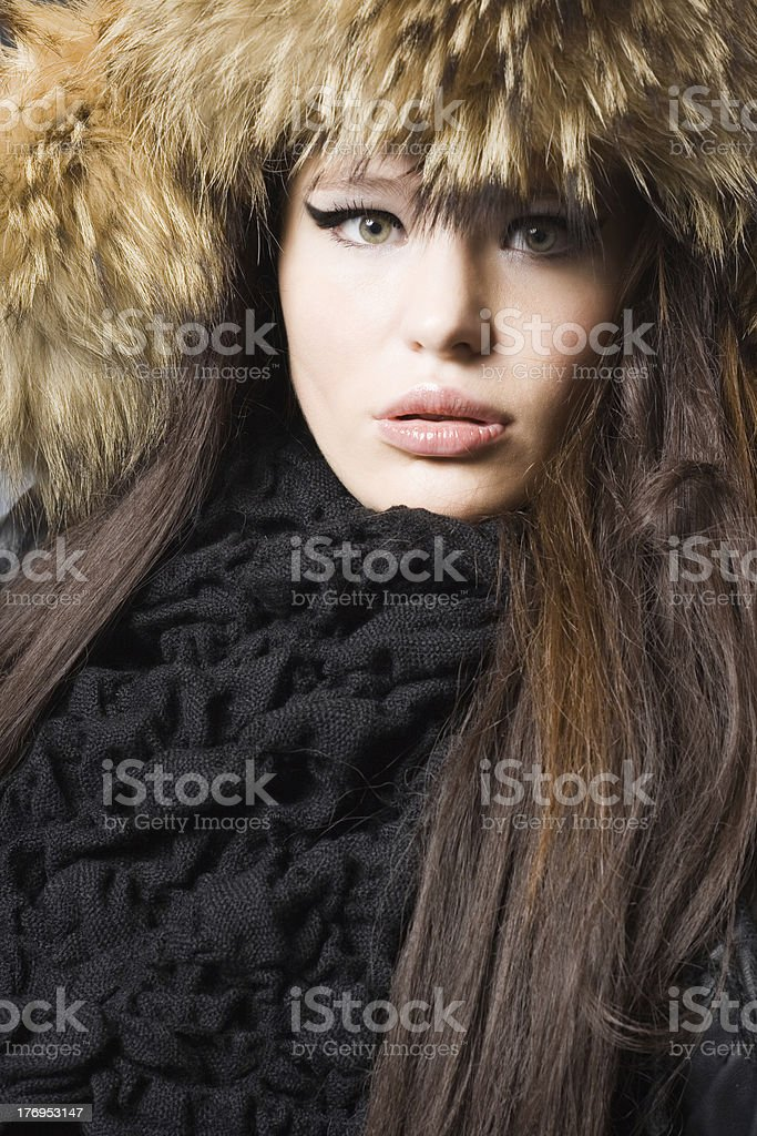 beautiful lady in fur cap royalty-free stock photo