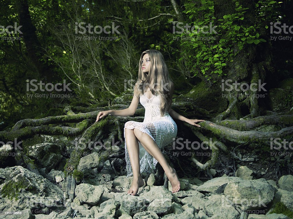 Beautiful lady in the rainforest royalty-free stock photo