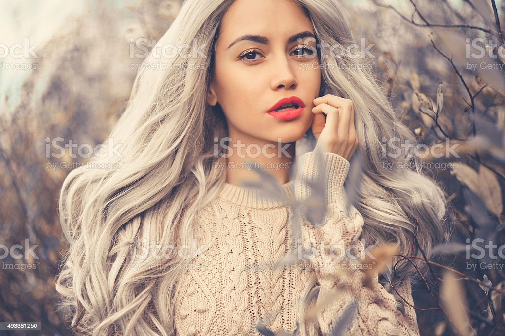 Beautiful lady surrounded autumn leaves stock photo
