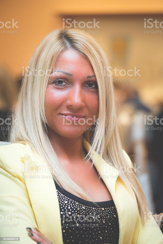 Beautiful Lady with Blonde Hair stock photo
