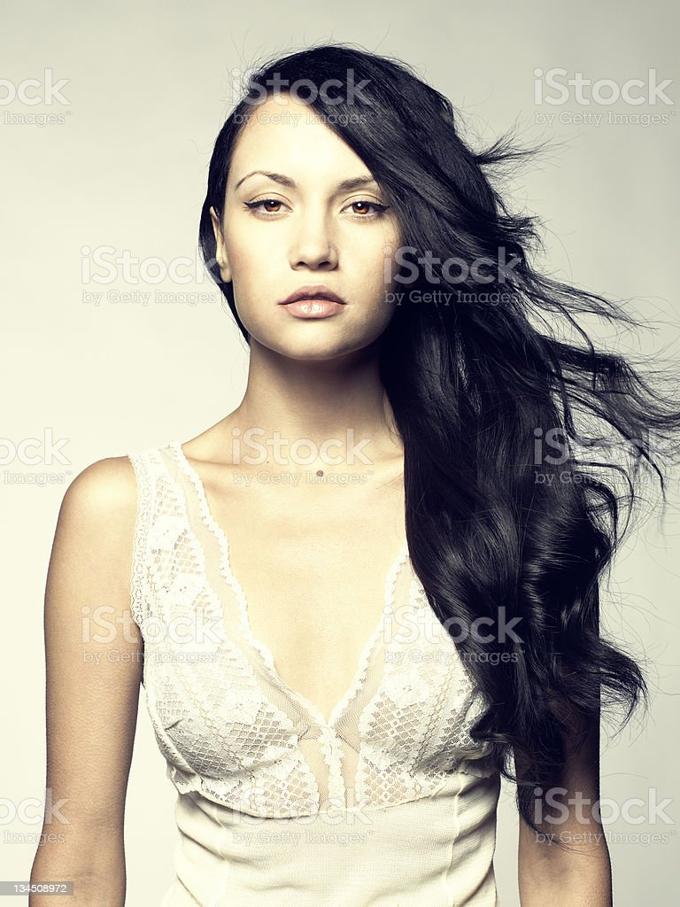 Beautiful lady with magnificent hair royalty-free stock photo