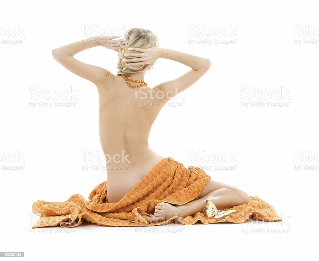 beautiful lady with orange towels royalty-free stock photo