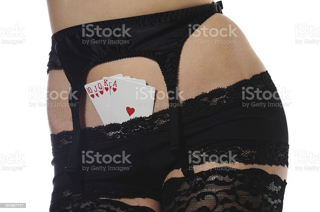 Beautiful lady with poker combination royalty-free stock photo