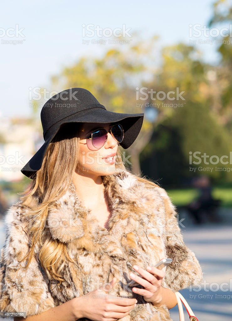 Beautiful Ladylike Woman in Elegant Clothes On The Street stock photo
