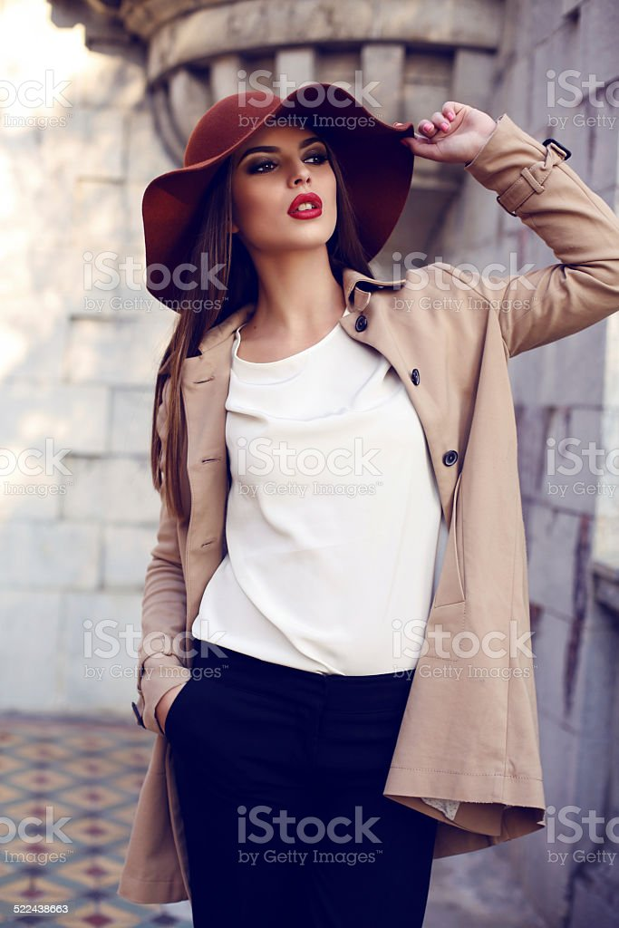 beautiful ladylike woman in elegant clothes posing in autumn park stock photo