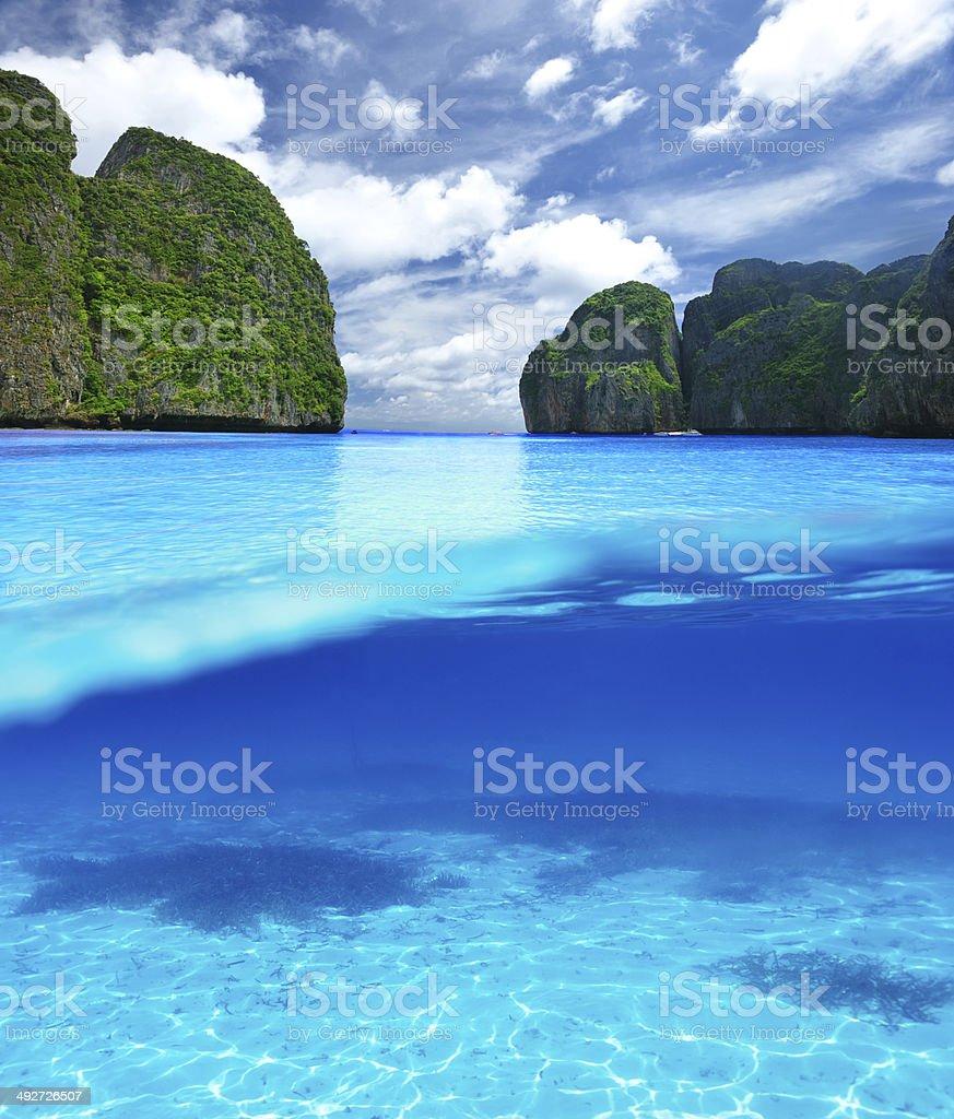 Beautiful lagoon with white sand bottom underwater view stock photo