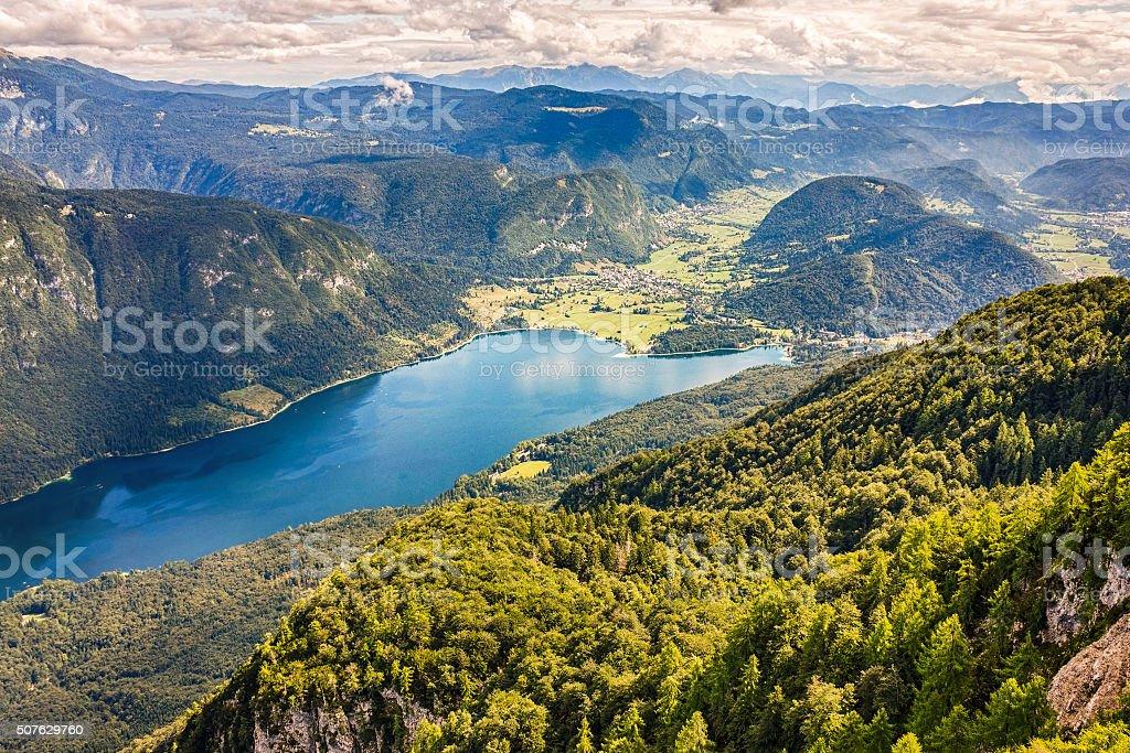 Beautiful Lake Bohinj  in Triglav national park, Slovenia stock photo
