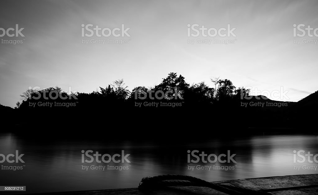Beautiful Lake Brunner at Sunset in black and white stock photo