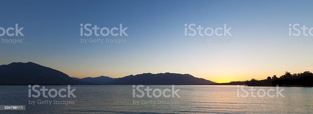 Beautiful Lake Brunner at Sunset , South Island, New Zealand stock photo