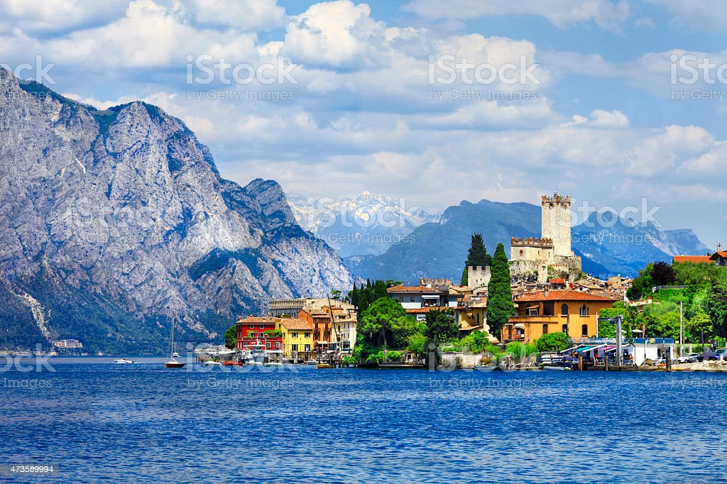 Beautiful lago di Garda, in Malcesine,Italy. stock photo