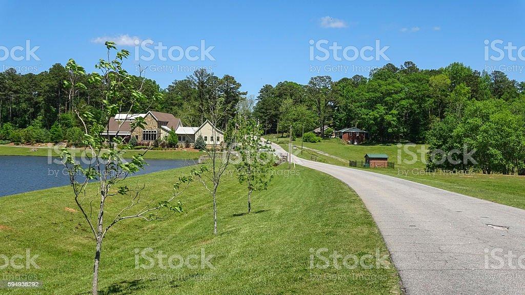 Beautiful lake in Senoia Georgia Lizenzfreies stock-foto